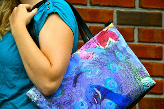 peacock printed handbag in turquoise blue and purple