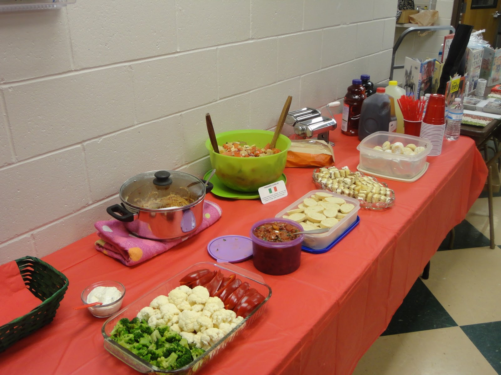 For every country study, we have a potluck, with each parent bringing in a  dish native to the country we're learning about. Here is today's spread, ...