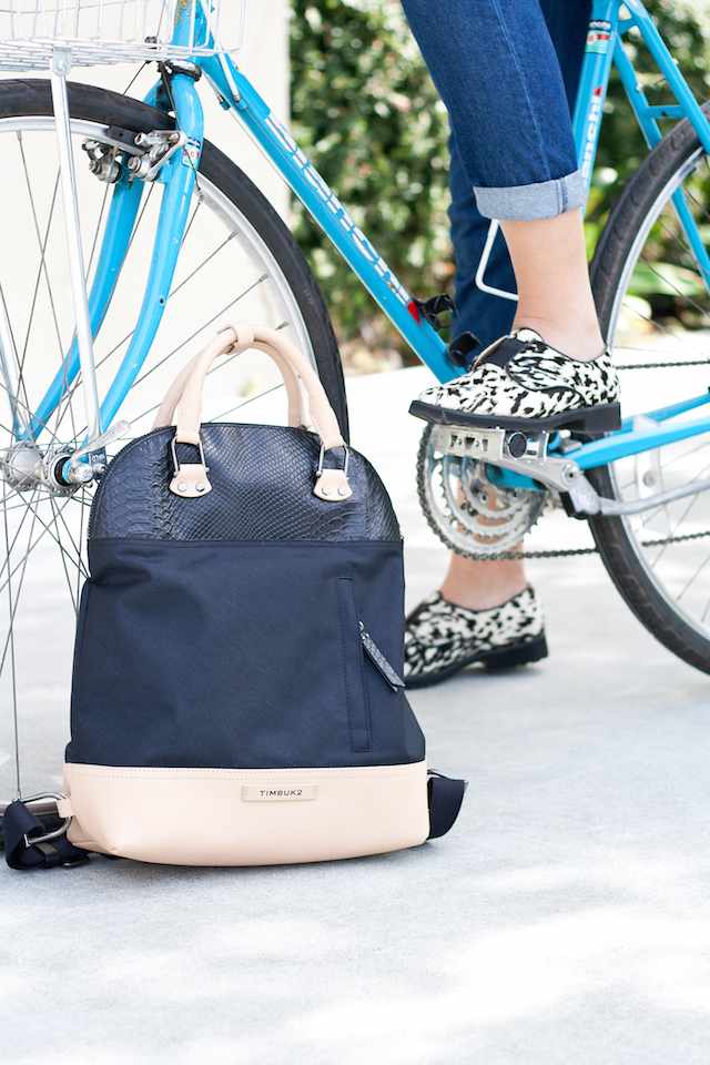 Fashionable Girls On Bikes – How To Dress Stylish For Commuting in the city on a bicycle by Fashion Blogger Stone Fox Style based in San Francisco  Wearing Shades of Grey by Micah Cohen from Urban Outfitters and a Femme Timbuktu Bag on  vintage Bianchi Bike.
