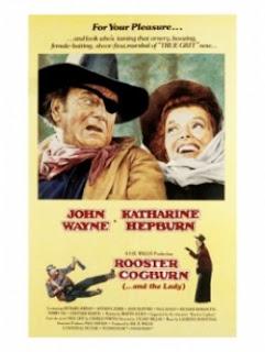 John Wayne and Katharine Hepburn starred in Rooster Cogburn, the movie sequel to True Grit.
