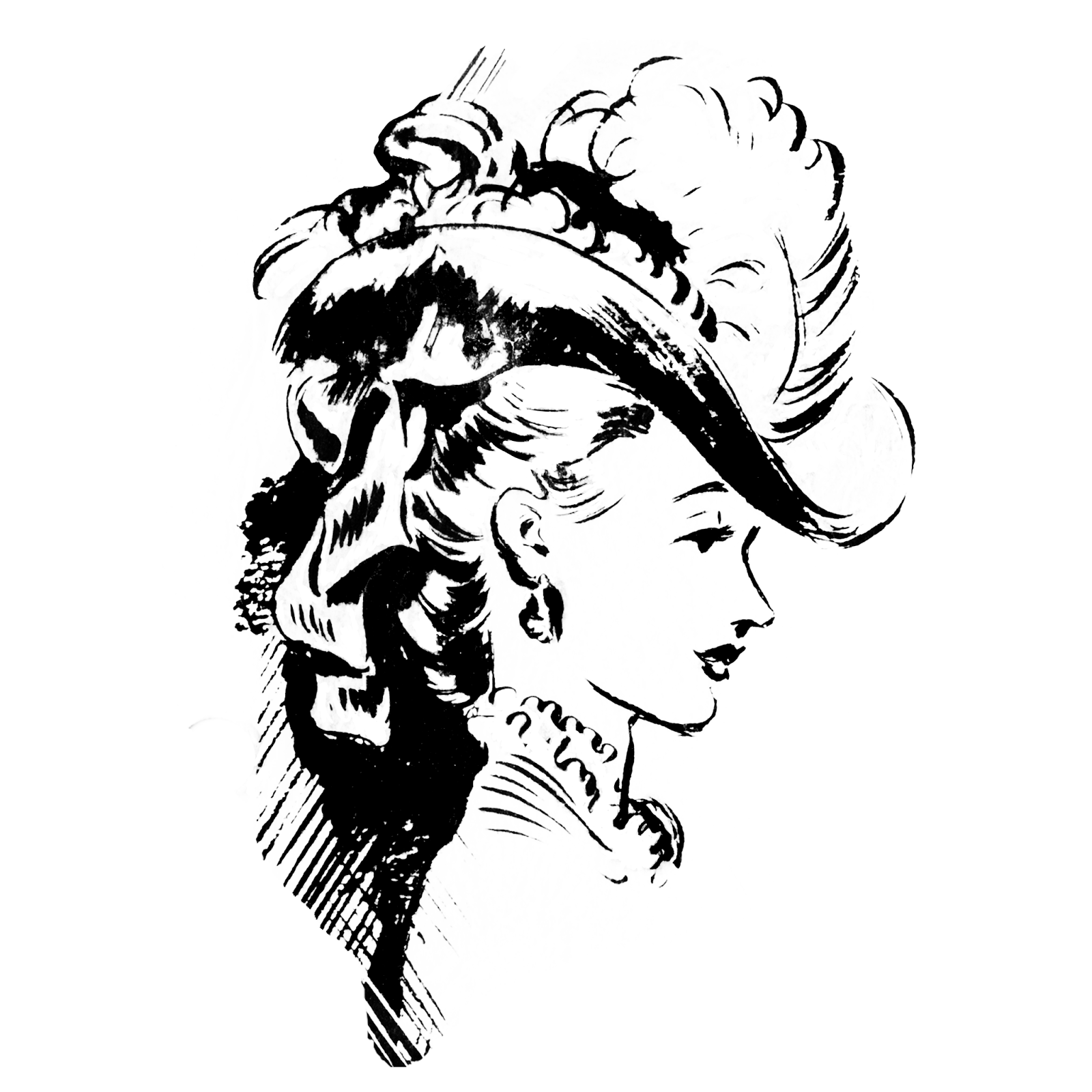 Line Drawing Lady : Vintage line drawings of people imgkid the