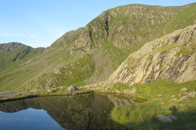 perfect spot for a wild camp - my tent pitched next to Hard tarn, Lake District
