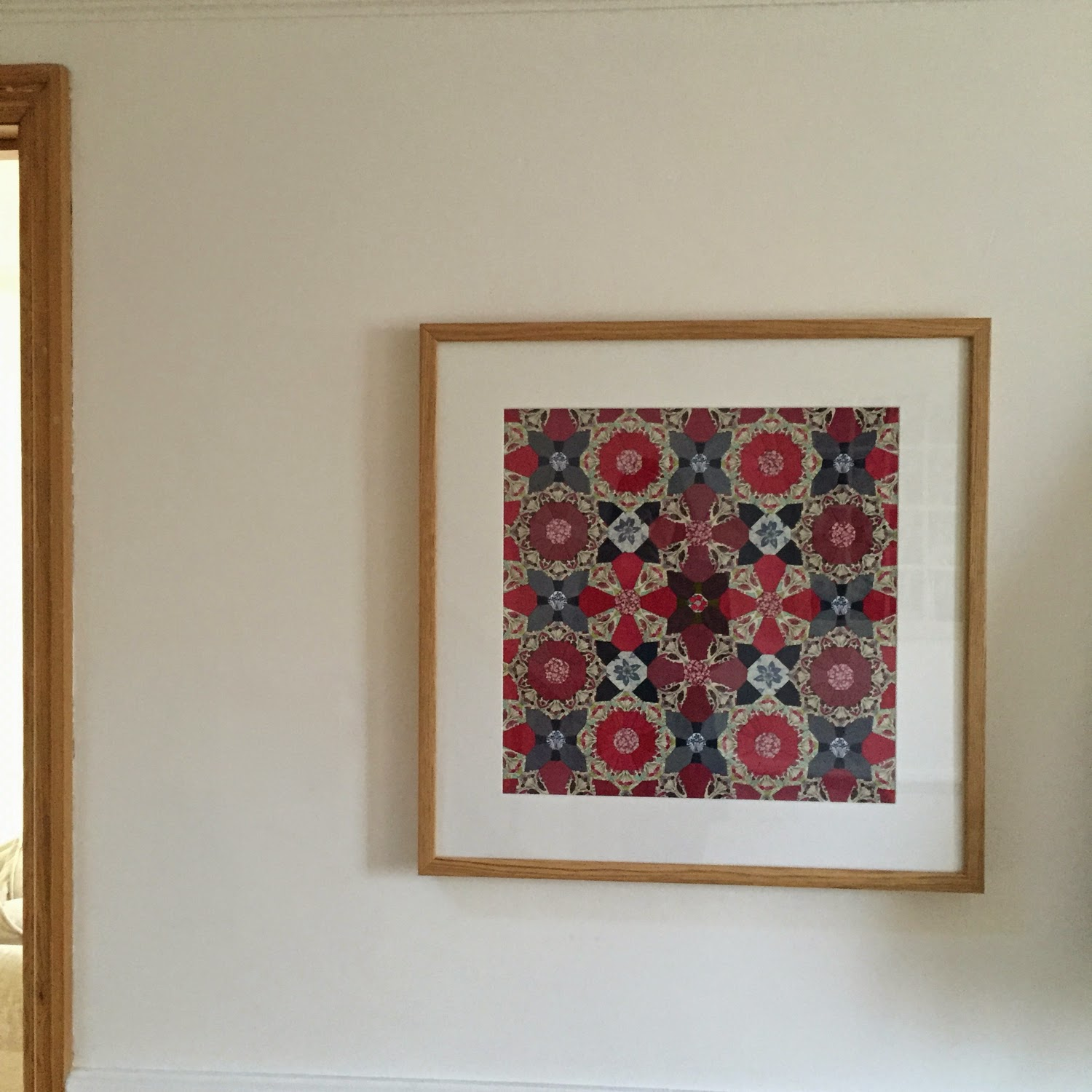 Flossie teacakes how to frame english paper piecing and other for my latest piece i happened to have a square oak frame from habitat in the house so i used this pre bought frame but got my mount cut to my jeuxipadfo Images