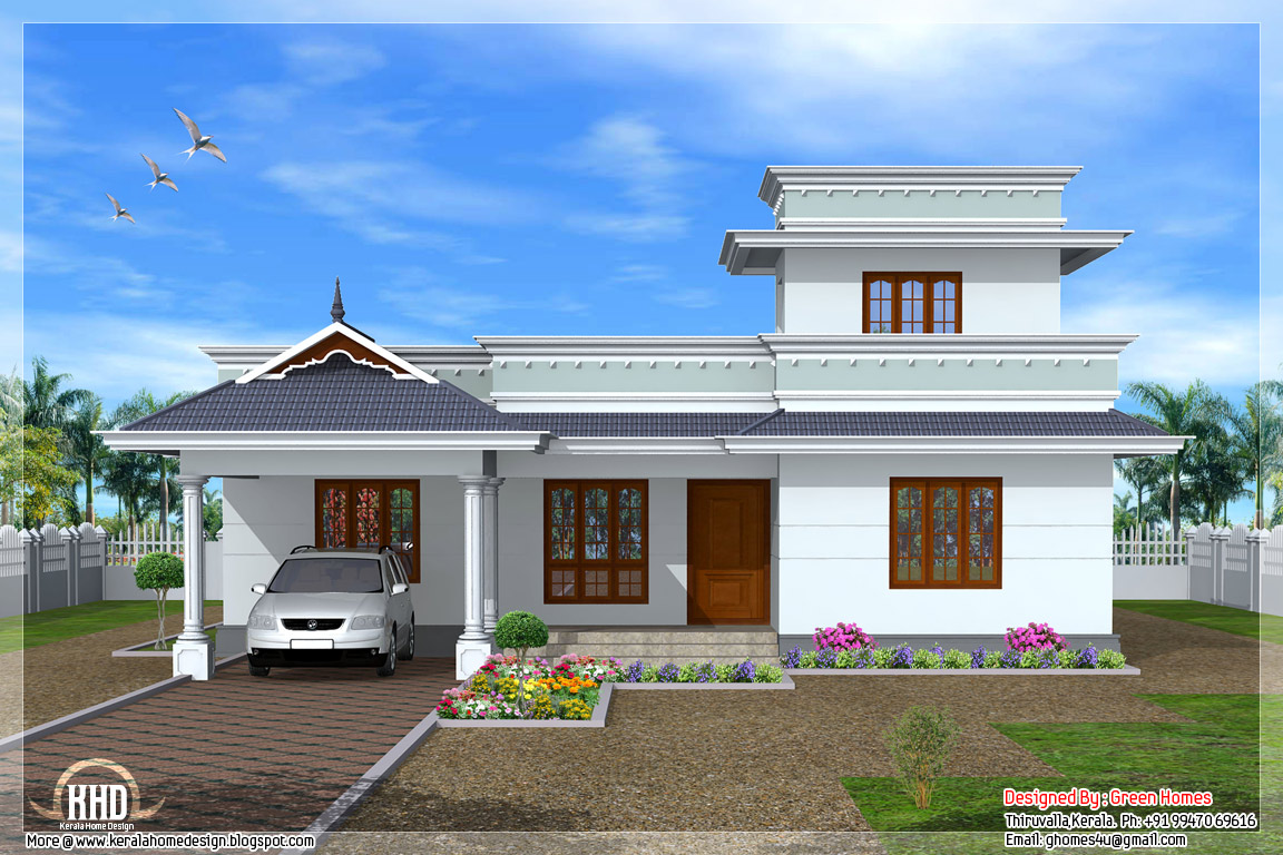 Floor House Sq Ft Flat Roof One Floor Home Kerala Home Design And
