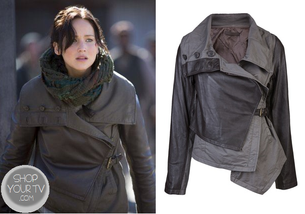 Catching Fire: Katniss' Brown Assymetical Leather Jacket