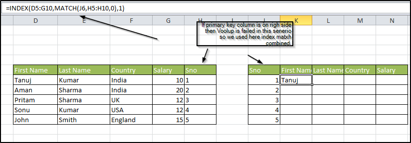 index match formula in excel