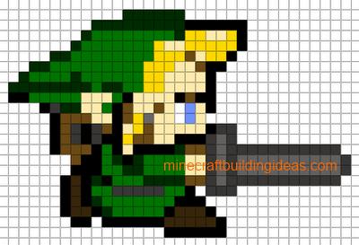 minecraft pixel art templates linkzelda