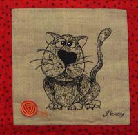Котики, машинная вышивка