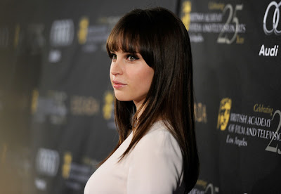 Felicity Jones Long Straight Cut with Bangs Hairstyle