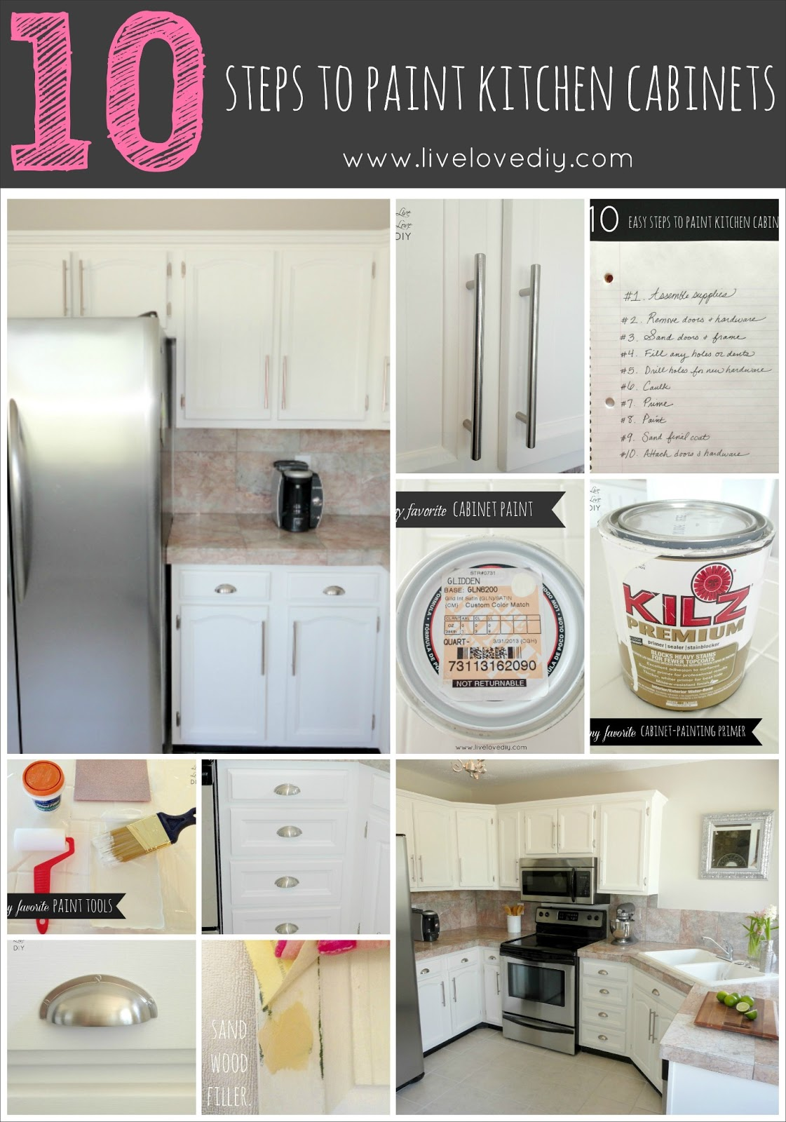 How To Paint Kitchen Cabinets in 10 Easy Steps & LiveLoveDIY: How To Paint Kitchen Cabinets in 10 Easy Steps