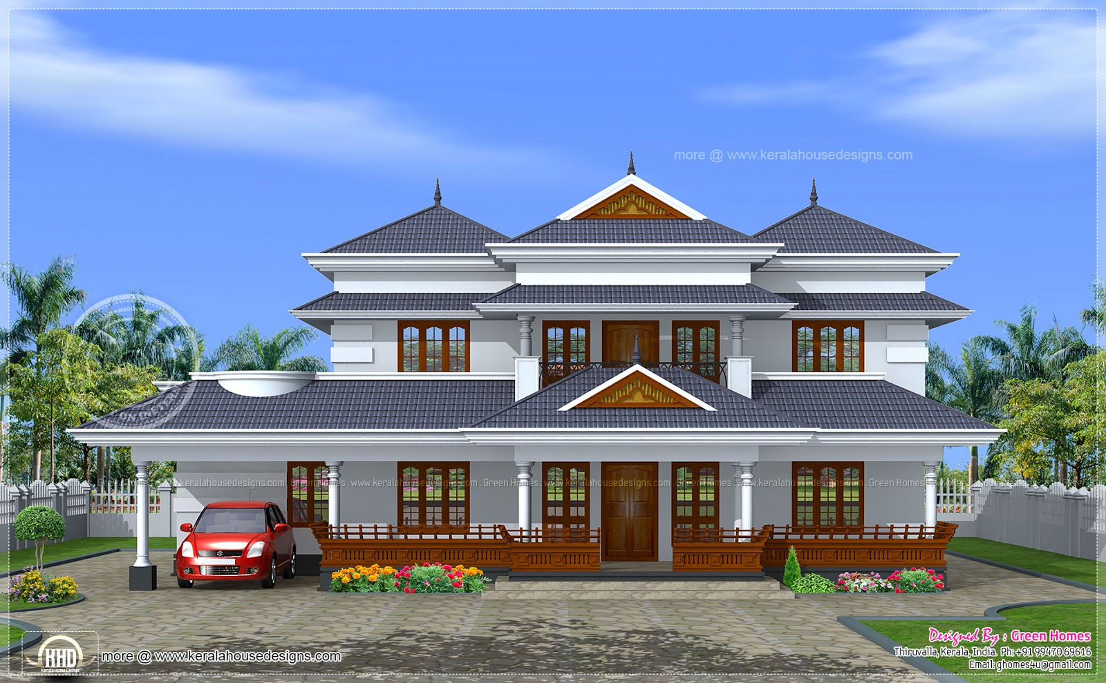 Kerala traditional home in 3450 sq ft home kerala plans for Conventional style home