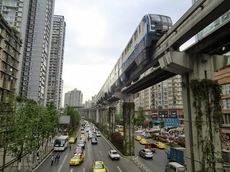 Chongqing monorail passes through a building.