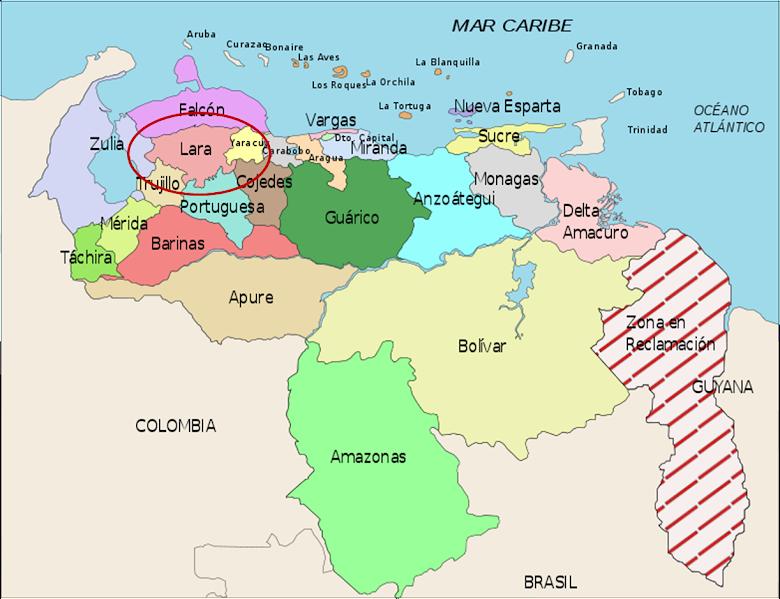 Venezuela (officially called the Bolivarian Republic of Venezuela). Its capital is Caracas.