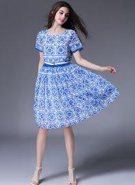 New 2016 Short Sleeve Blue Print on White Flare Dress