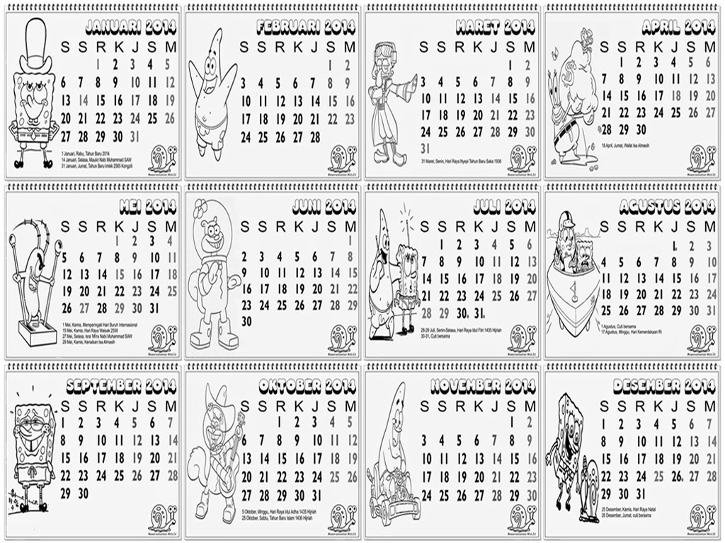 kalender lengkap 2014 untuk anak