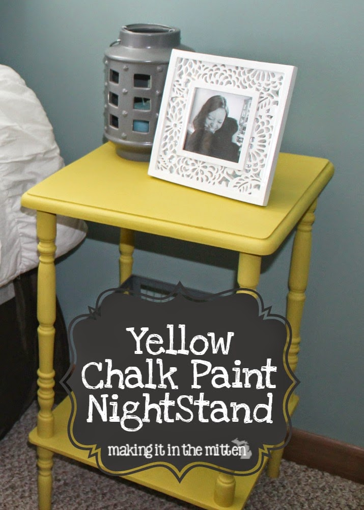Making it in the mitten a yellow chalk paint nightstand for Yellow painted table