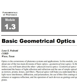 Fundamentals of Photonics : Basic Geometrical Optics