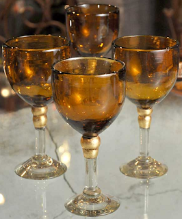 Hand-Blown Amber Wine Glasses