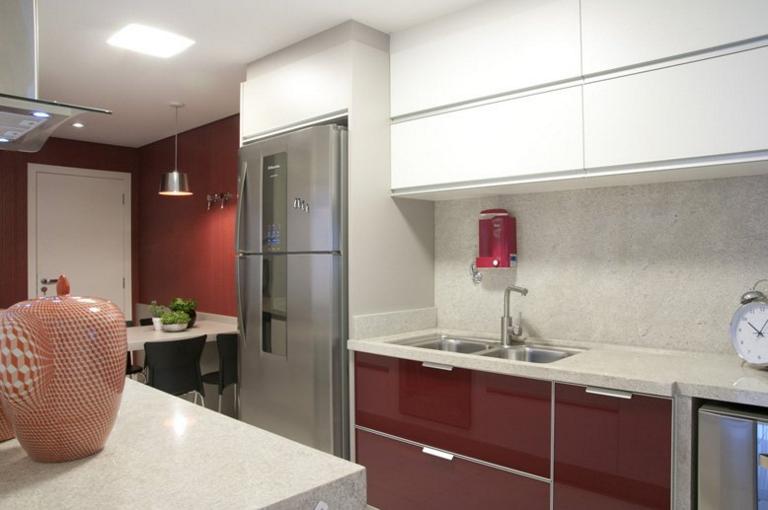 Bancadas de cozinhas modernas com tábuas, escorredor, cuba dupla  veja ideia # Bancada De Cozinha Com Duas Cubas