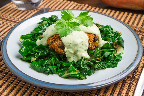 Chipotle Sweet Potato and Black Bean Quinoa Cakes with Creamy Avocado Sauce