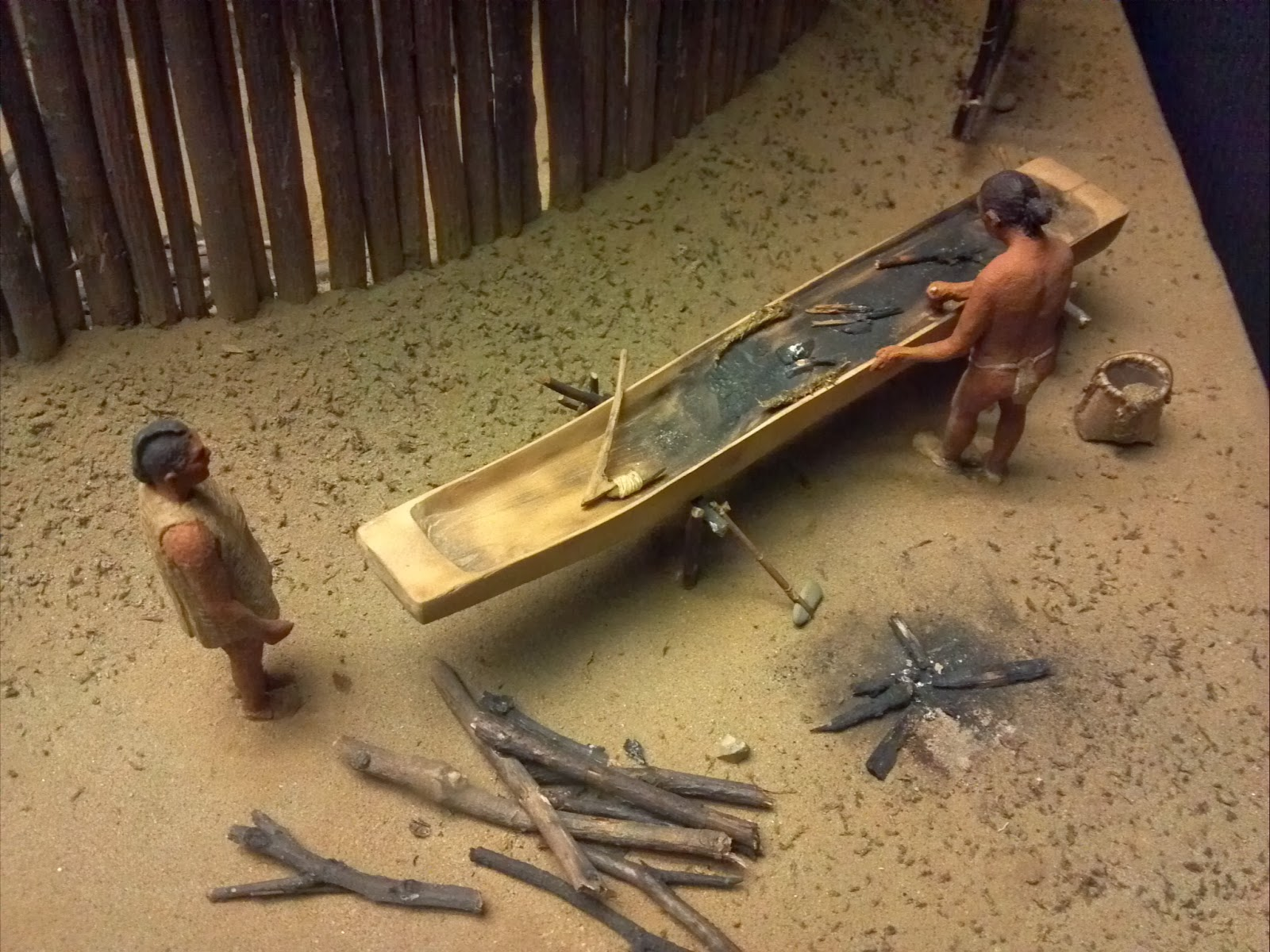 Northeast Amerindian dugout canoe building model