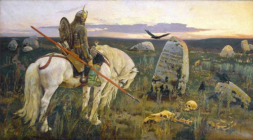 A knight on horseback ponders a crucial choice