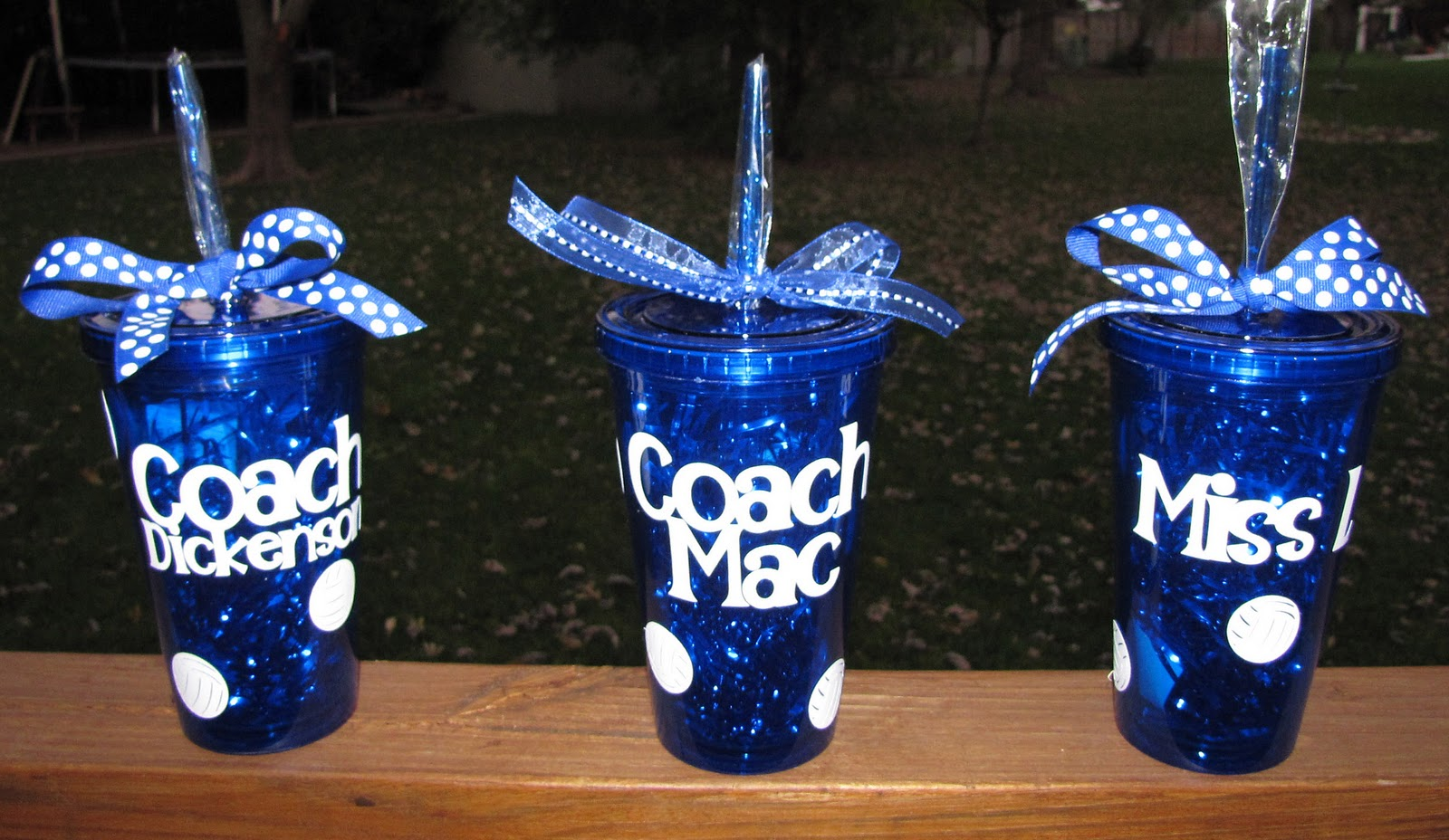 So here are my decorated tumblers for my girls' volleyball coaches: