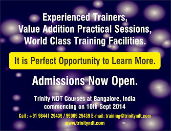 NDT Level II Training from 10 Sep 2014 at Bangalore, India - world class training click below Image