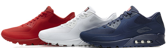 Three colorways of the Nike Air Max '90 Hyperfuse, inspired by the red,  white and blue.