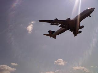 big airplane landing at dulles international airport