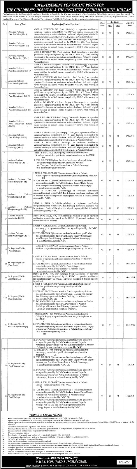 MBBS Doctors Jobs in Children Hospital Multan