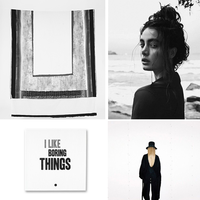 Monochrome mood board with art, lifestyle and fashion inspiration
