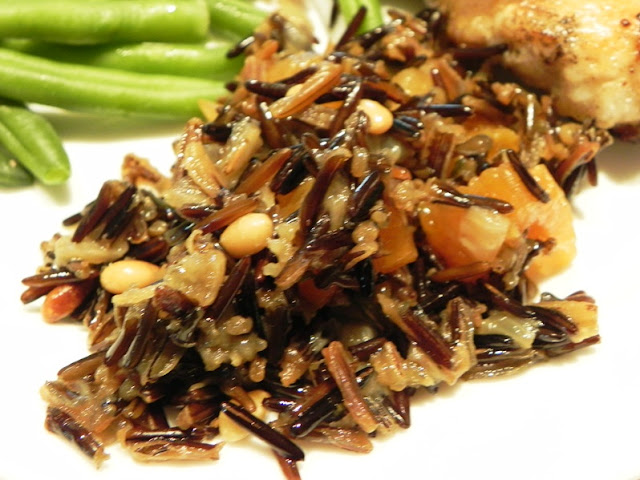 The Iowa Housewife: Wild Rice Pilaf with Dried Apricots and Pine Nuts