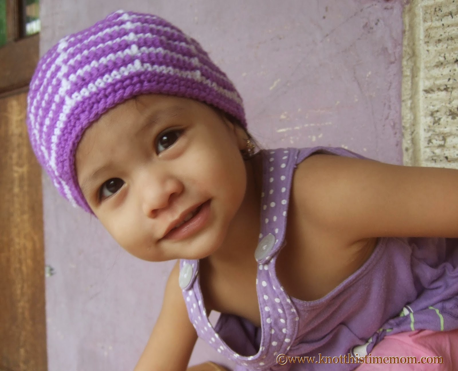 Child's White and Purple Beanie
