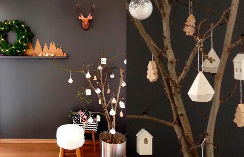 Ideia para árvore de Natal de galho, modernizada pelos adornos, Foto: Naline Ruguê