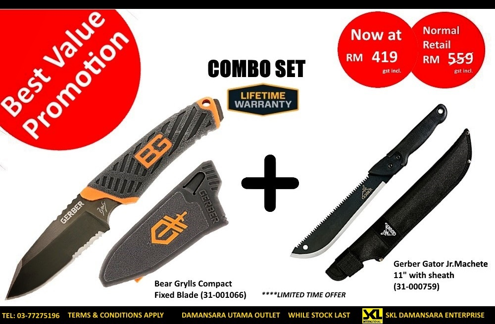 Gerber BG Fixed Blade & Gator Junior Machete Combo Set @ RM 419 Only