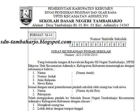 Contoh Surat Pindah Siswa Siswi Sd Antar Kabupaten Sd