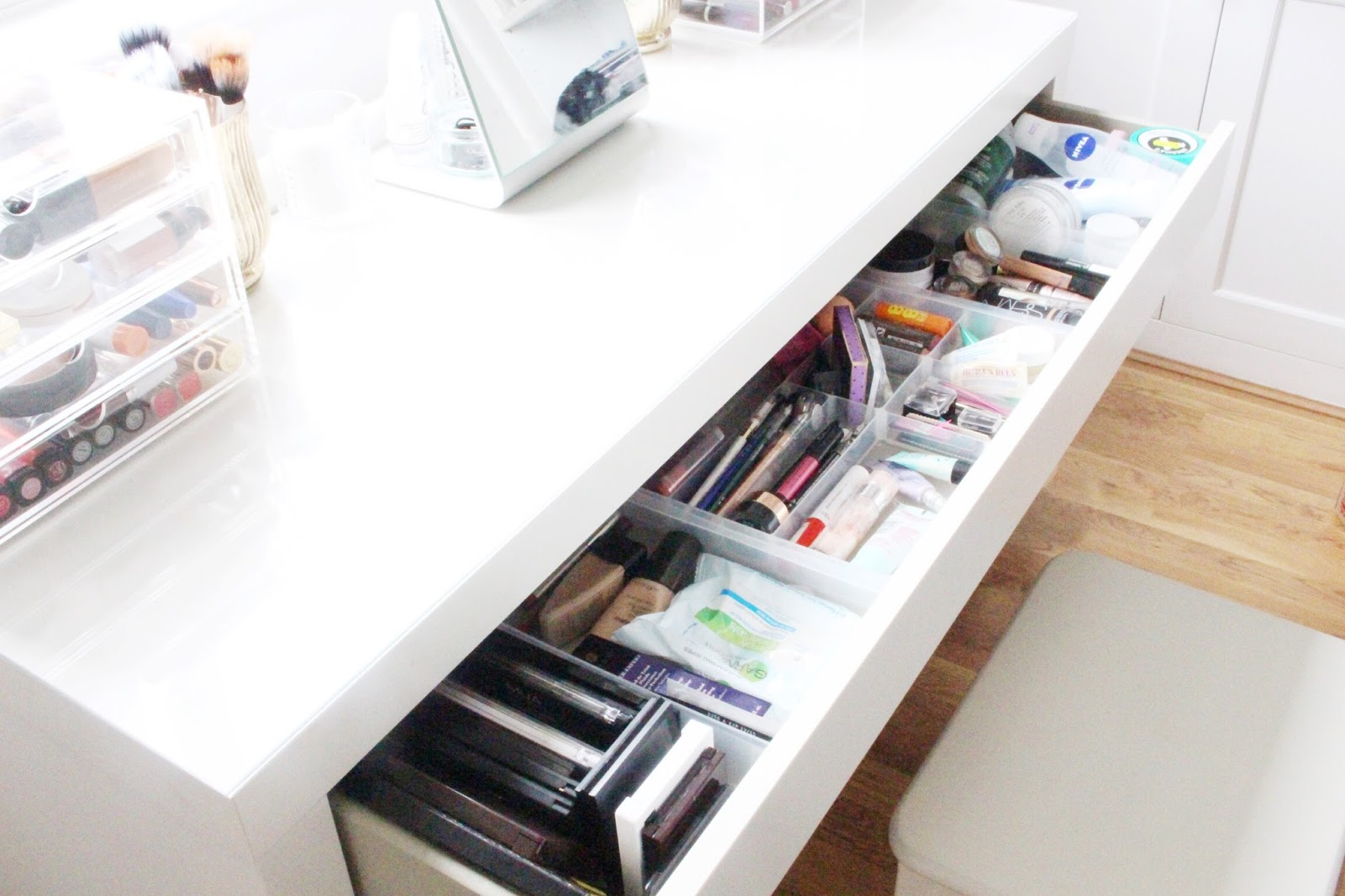 A tour of my malm dressing table drawer charlotte for How to dress a table