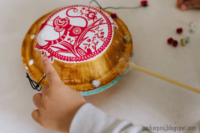 Ring in the New Year with this DIY Chinese Pellet Drum Kids Craft / Kids friendly craft to celebrate the Lunar New Year 2016, the Year of the Monkey.