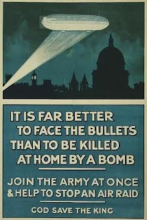 Cartel de guerra sobre dirigibles