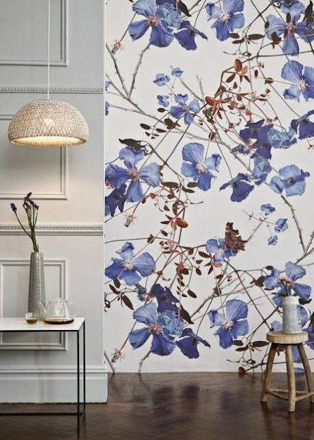 large scale modern blue flower floral wallpaper
