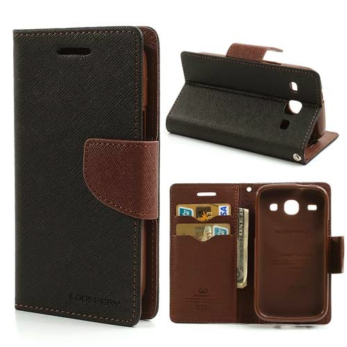 Mercury Goospery Fancy Diary Leather Case for Samsung Galaxy Core I8260 I8262 - Black / Brown