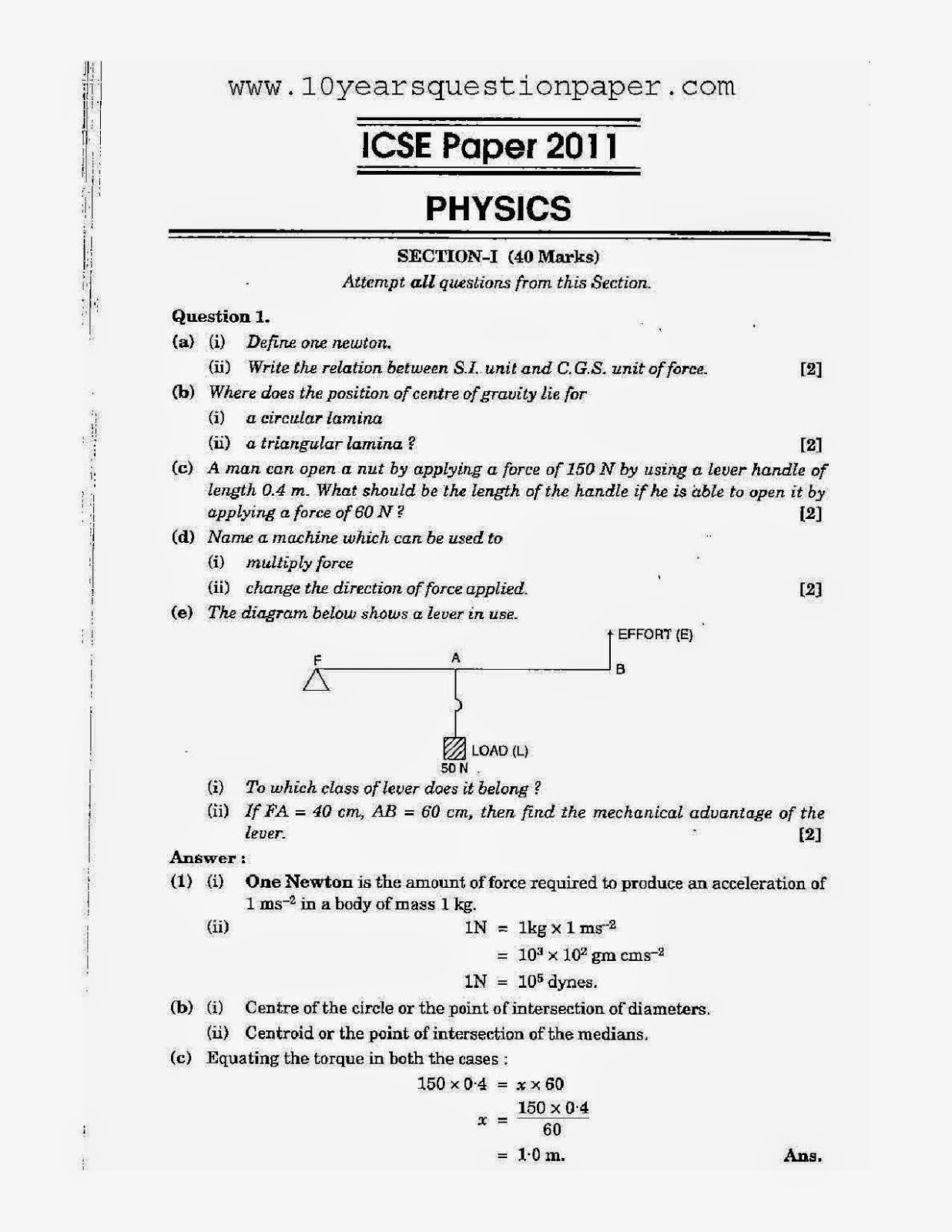 icse exam physics science paper board solved question icse 2011 class 10th science physics paper 1 question paper