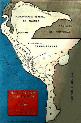 Dibujo del Mapa del Virreinato del Perú 1810