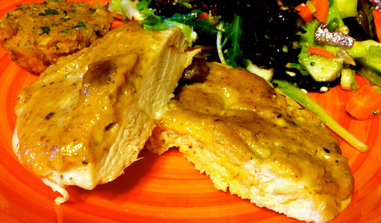 Baked Chicken Breasts with Mango Chutney Sauce..