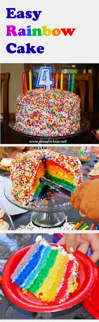 Easy Rainbow Cake, Rainbow Cake Recipe #rainbows, #cake, #recipe