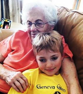 grandmother, grandson, contentment
