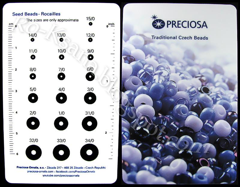Сzech seed beads rocailles sizes Таблица размеров чешского бисера