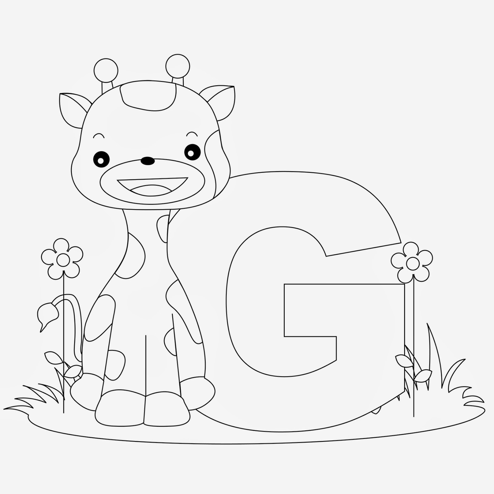 printable alphabet coloring pages giraffe