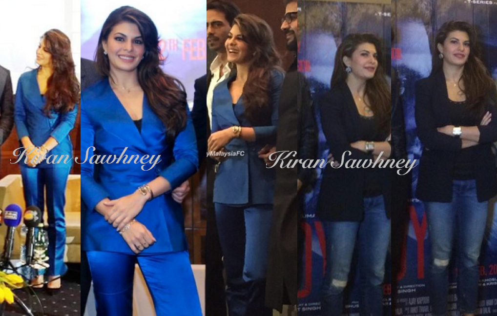 3 different looks of Jacqueline Fernandez for promotions of her movie